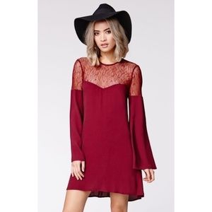 Kendall & Kylie Red Lace Bell Sleeve Dress Size M